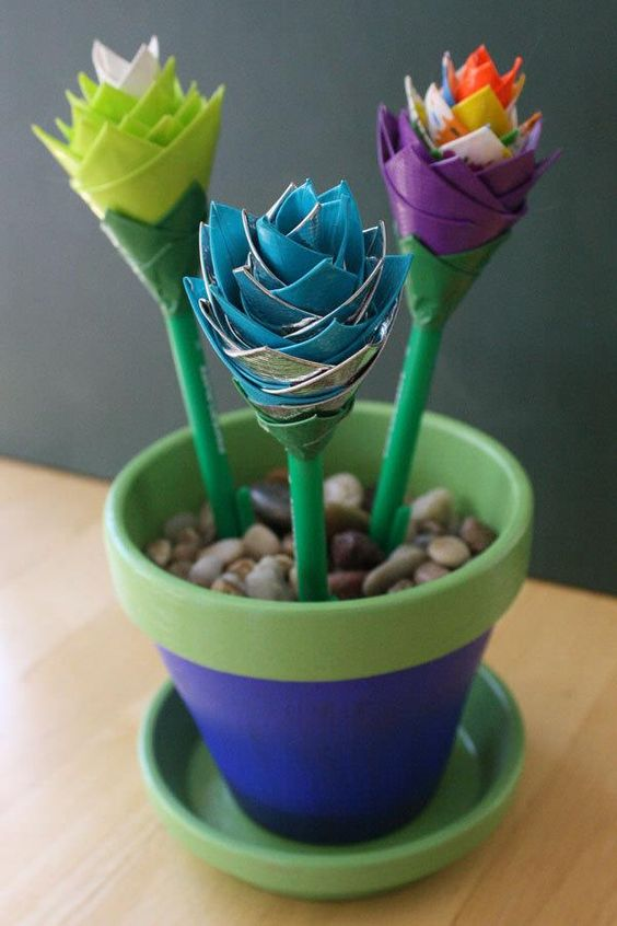 Easy DIY Duct Tape Flower Pens with Pot   101 Duct Tape Crafts