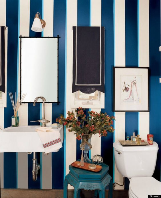 navy blue and white vertical striped wallpaper in bathroom   Google Search. navy blue and white vertical striped wallpaper in bathroom