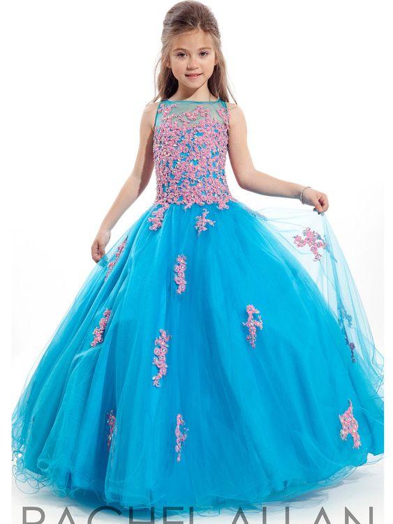 $67-Little Girls Ball Gown Pageant Dresses Appliques Lace Glitz ...