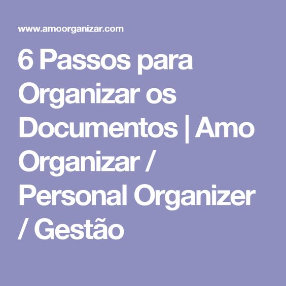 6 Passos para Organizar os Documentos   Amo Organizar / Personal Organizer / Gestão