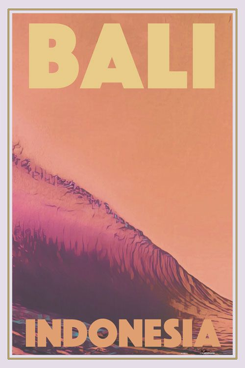 Surf Poster Bali Limited Edition In 2020 Surf Poster Retro Travel Poster Vintage Travel Posters