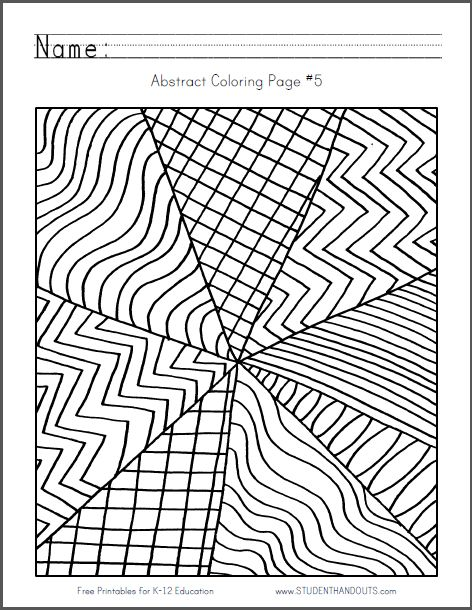 Abstract Coloring Page 5 Free to print (PDF file