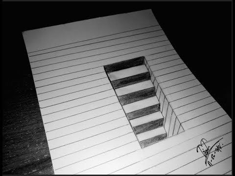 Veru Easy How To Draw 3d Stairs For Kids Step By Step Uncomon Illisi 3d Drawings Step By Step Drawing Optical Illusions Art
