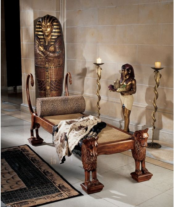 Amazon Home Decor Ideas: Ancient Egyptian HandCarved Royal King Tut Chaise Lounge