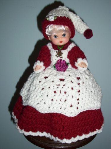 MRS. SANTA AIR FRESHENER TOILET TISSUE COVER DOLL, Crochet, BURGUNDY DRESS, New