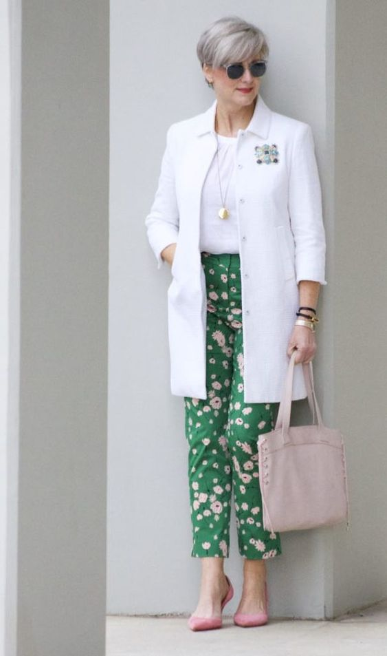 boden white jacket, boden linen shirt, boden green print pants, j.crew pink suede shoes