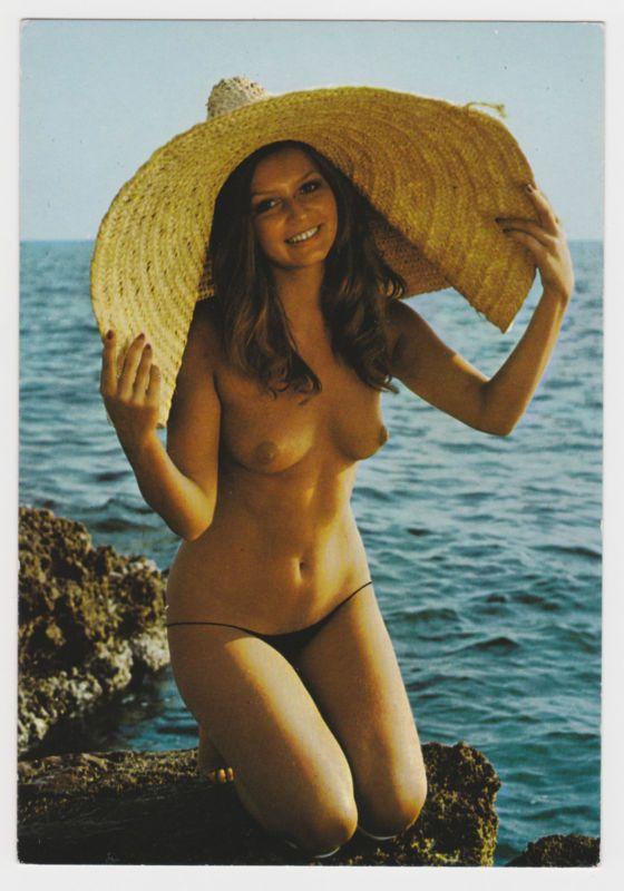 Girl bent nude girl straw hat kneeling boat beats woman