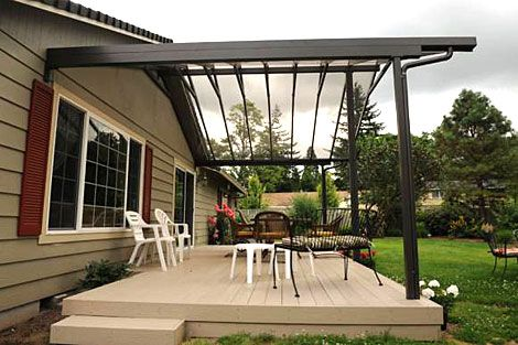 Aluminum patio cover design with transparent roof material for Modern patio cover designs