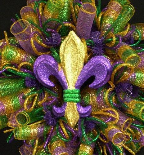 Fat Tuesday images | Mardi Gras Wreath, Fleur de Lis Wreath, Fat Tuesday Poly Mesh Item 930