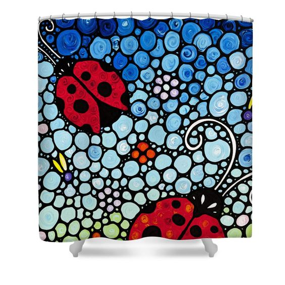 Ladybug Art Joyous Ladies 2 Sharon Cummings Shower Curtain For Sale By Sharon Cummings Ladybug Art Flower Art Flower Canvas