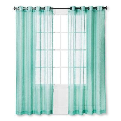 Linen Grommet Sheer Curtain Panel | Blue, Curtains and Sheer ...
