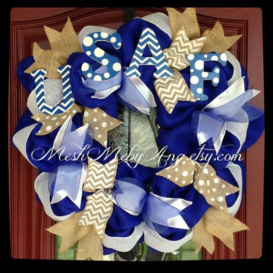 Air Force blue burlap wreath by MeshMebyAng on Etsy, $60.00