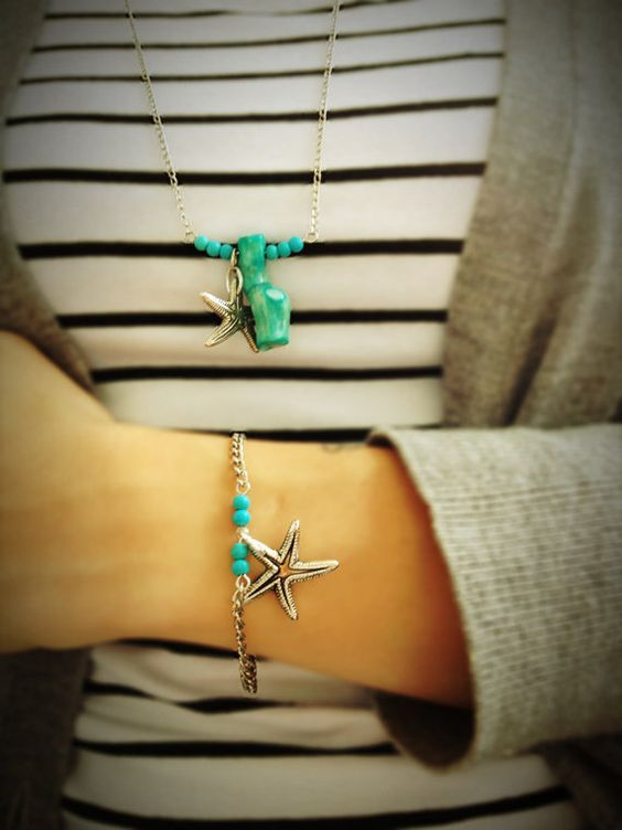 Silver bracelet with turquoise beads and a silver colored sea-star via Etsy