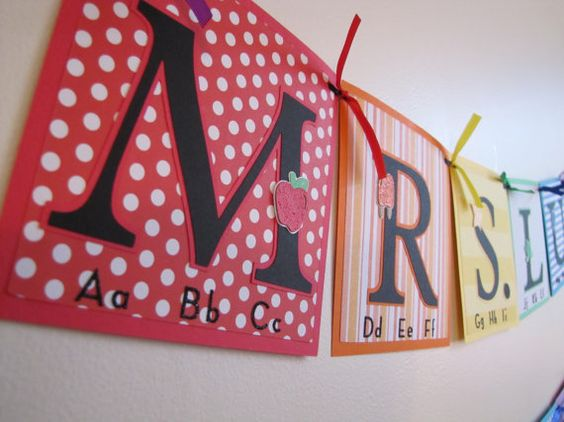 Teacher Name Banner Back to School Custom Banners by MeadowsBrook, $20.00
