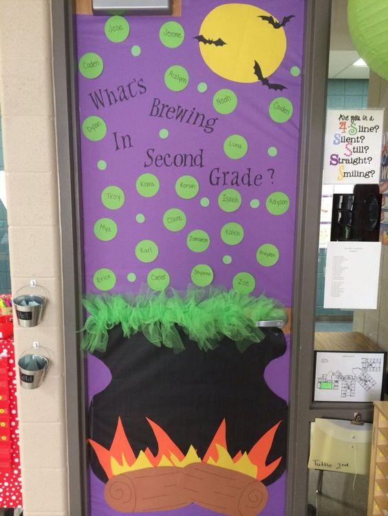 Halloween classroom door decoration #cauldron #halloween #teacher #primary