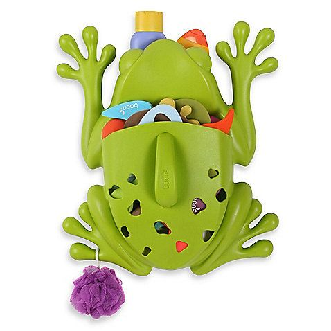 This big frog is ready to leap into action when your tub is filled with toys! The Frog Pod helps with children's bath time clean-up, providing a drainable scoop for collecting and rinsing toys and a wall-mounted base for storing bath products.
