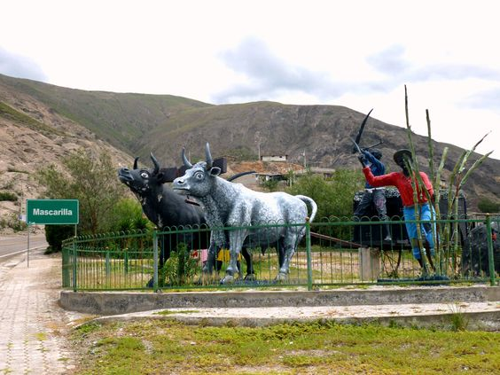 Monument to the farming activity in Mascarillas, Ecuador represented by bulls and a man