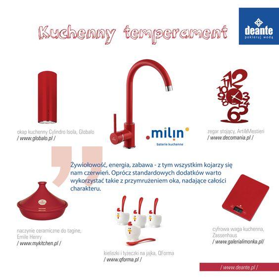 Milin - red kitchen mixer, Deante Kitchen color ideas - wasserhahn küche wandanschluss