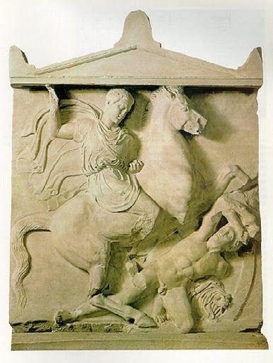 Relieve de mármol de Atenas. Cenotafio: Dexileo, hijo de Lisanias de Torico, en acción. 394-393 a. C.