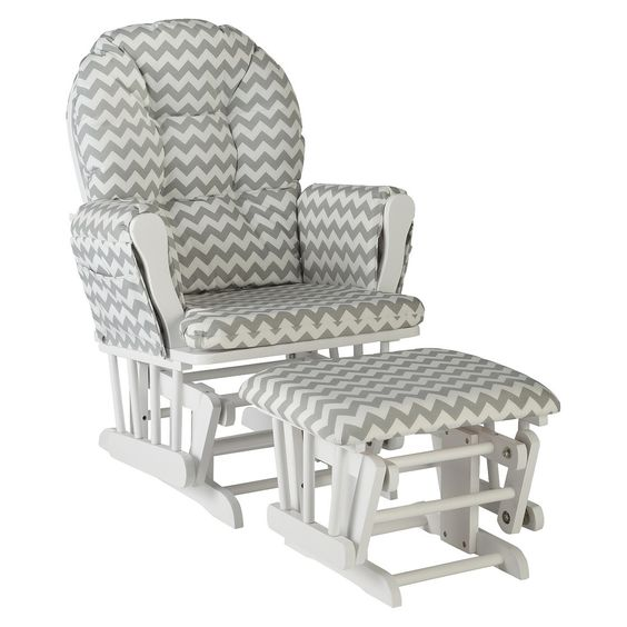 Storkcraft Hoop White Glider and Ottoman  Crafts, Gray chevron and ...