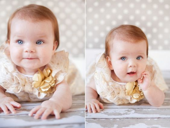 gorgeous dress + grey polka dots, adorable subject! Great outfit for baby girl photos! Photo by Krista Lee