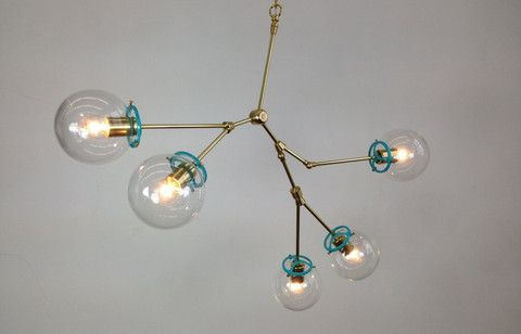 5-Globe Brass Reef Chandelier