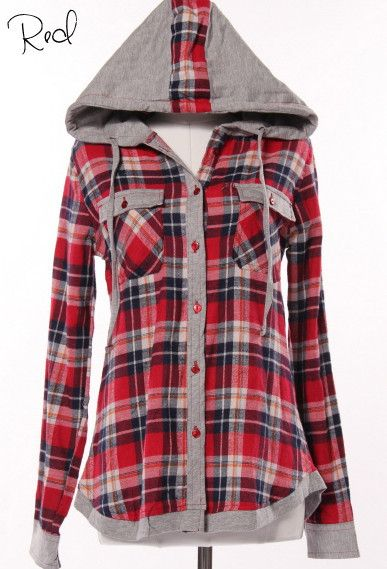 [Stitch fix: I like that it is button up with a hood. The plaid pattern is nice but doesn't have to be this color] Cute and comfy. Plaid Button Up Hoodie