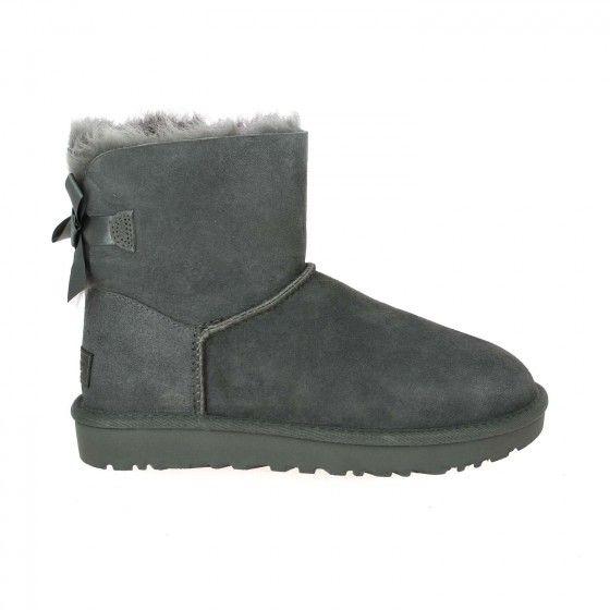 Boots fourrées à nœuds gris UGG MINI BAILEY BOW Bessec