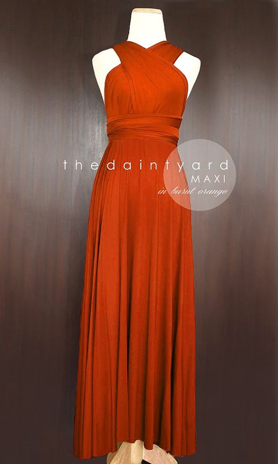 Maxi Burnt Orange Bridesmaid Prom Wedding Infinity by thedaintyard, $48.00