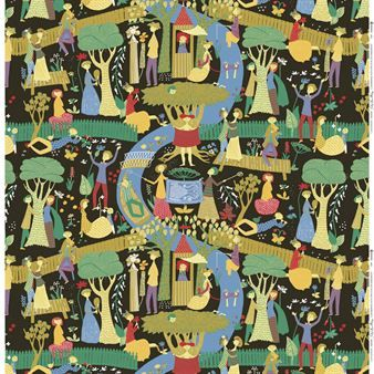 Lustgården ist ein berühmtes Stoffmotiv, das der schwedische Designer Bengt Lindberg in den 1950er Jahren entworfen hat. Hier präsentieren wir dieses prestigeträchtige Textil in der Farbstellung schwarz. Ein wunderbares Textil für Gardinen und Dekorationen aller Art - die Schönheit dieses Motivs eignet den Stoff aber auch, um ihn ganz einfach als Wanddekoration zu verwenden wie er ist. Händisch in Schweden hergestellt.