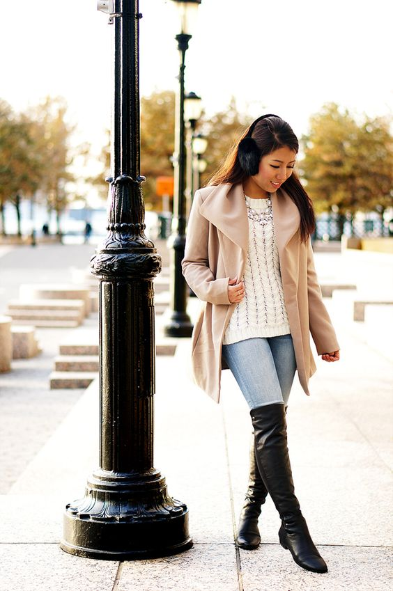 Draped Jacket & Over The Knee Boots