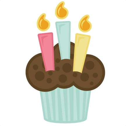 cupcake with candles svg file for scrapbooking cardmaking