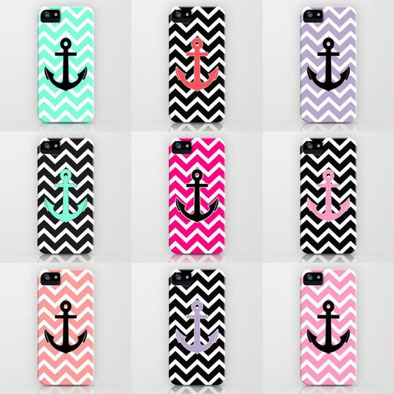 Summer Anchor iPhone cases. My favorite is the blue chevron with a black anchor ⚓