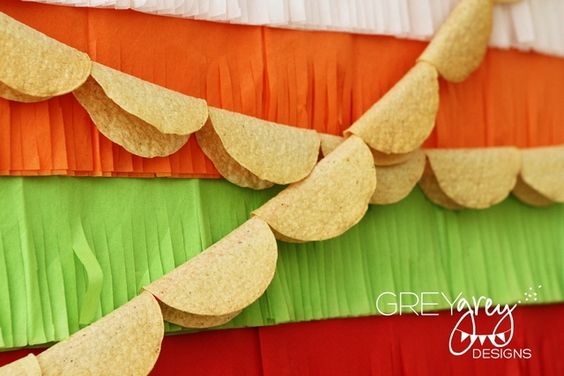 Bunting made of taco shells! Love it for a fiesta!!-  SO SO SO precious for when gracie's birthday party day falls on cinco de mayo again!