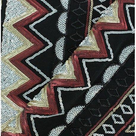 Tissu Tulle Paillettes Noir x10cm