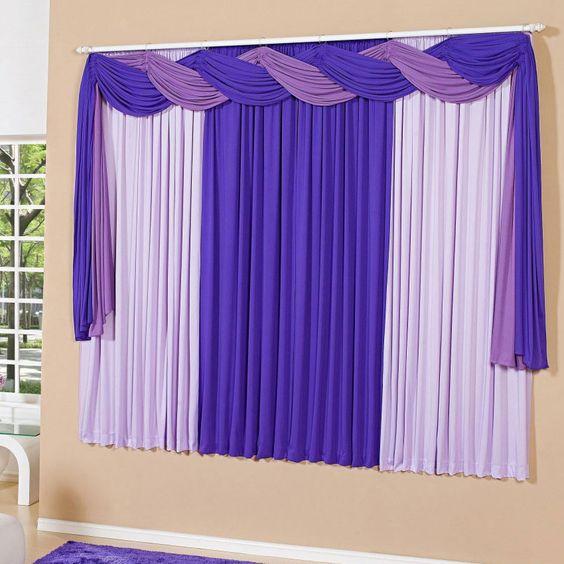 Cortina de 2 metros com bando em malha cortado a laser na for Catalogo de cortinas para sala