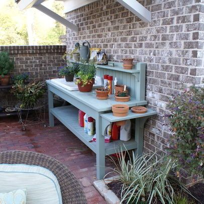 patio workbench could be used for serving table for the