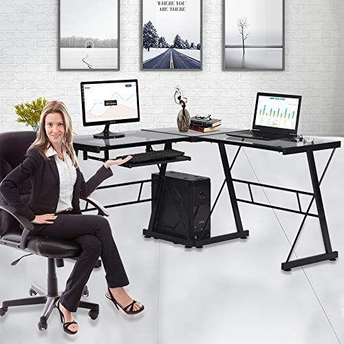 Computer Desk Glass L Shaped Desk With Keyboard Tray Home Office Desk Workstation L Corner Gaming Desk L Desk With Keyboard Tray Corner Gaming Desk Workstation