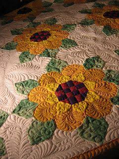 Sunflowers -- wonderful quilting!