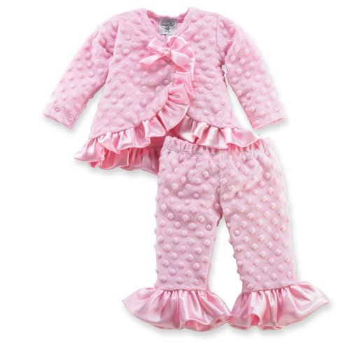 This precious, pink 2 piece set includes a long sleeve kimono style top with satin ruffles and matching pink minky ruffle pants. Arrives on satin hanger. Part of Mud Pie's Pretty in Pink collection: Girly girls get their kicks from feminine flair. Our Pretty in Pink collection captures pure femininity in the best color for girls, pink! Available in sizes 0-6 months, 9-12 months and 12-18 months.: