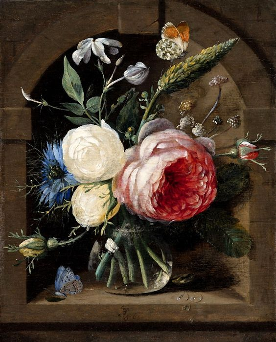 Gaspar Peeter Verbruggen the Elder (1635-1681) —  Still Life with Roses and wild Flowers in a Vase,  1664  (806x1000)