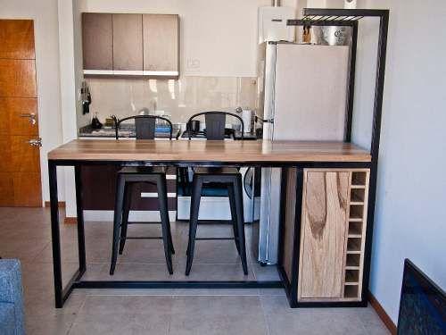 Barra Desayunador 2banq Hierro Y Madera Industrial Calidad 16 900 00 Muebles Para Casa Muebles De Diseño Industrial Diseño De Muebles