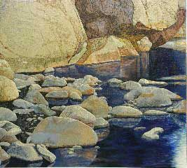DJ Hershman  Canyon Stream   Oil on Board  H 40in x W 44in