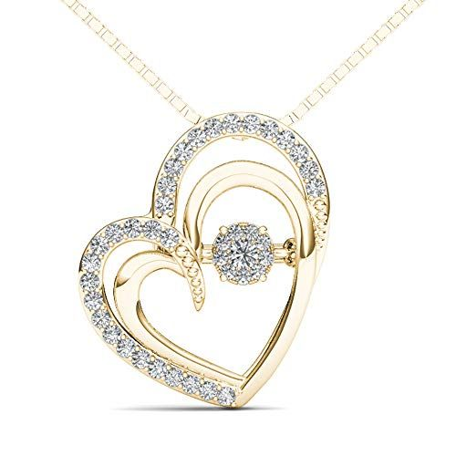 305 89 0 15 Carat 10kt Gold Round Diamond Double Heart Pendant Necklace H I Color I2 Clarity Elegantly Craf Heart Pendant Necklace Heart Pendant 10kt Gold