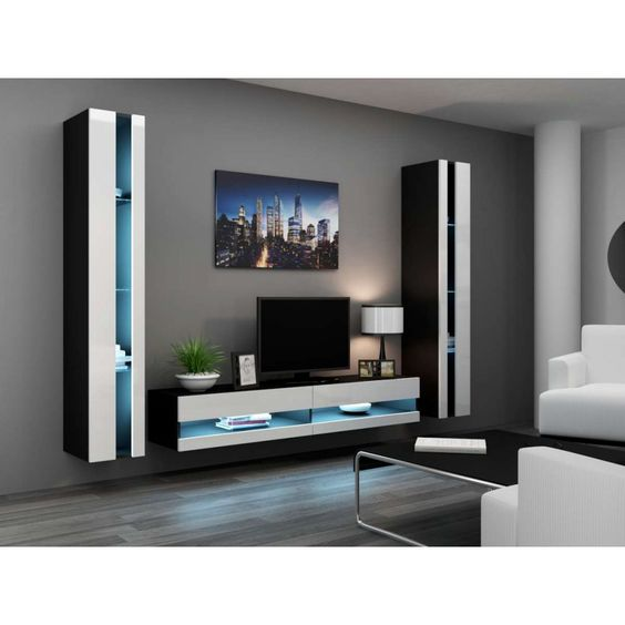 JUSThome Set Vigo N III Living Room Furniture Set   Wall Unit With Tv Stand  Black/ White: Amazon.co.uk: Kitchen U0026 Home | House Design | Pinterest |  Living ...
