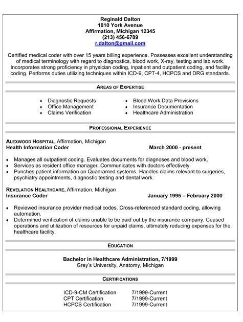 Medical Coder Resume | Resume Format Download Pdf