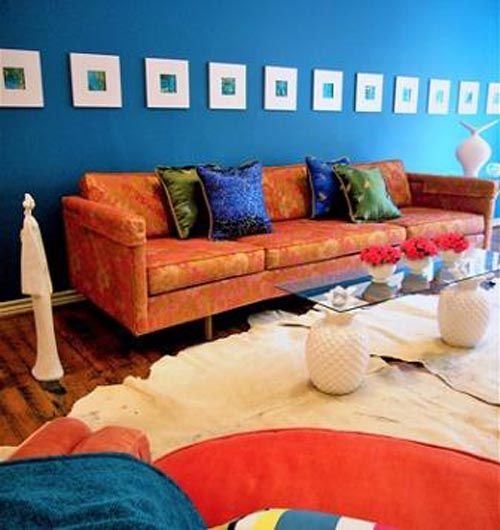 Orange And Blue Interior Design Tips Living Room