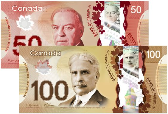 Canada is hopping on board the polymer currency bangwagon! I've seen these in several Asian countries and they are really nice. I like the fact that they cant rip, and they can even be washed!