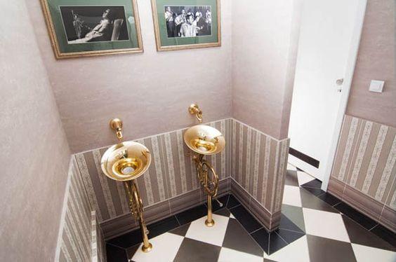 Fresh Timisoara Lounge Design Hiding Trombones In the Bathroom