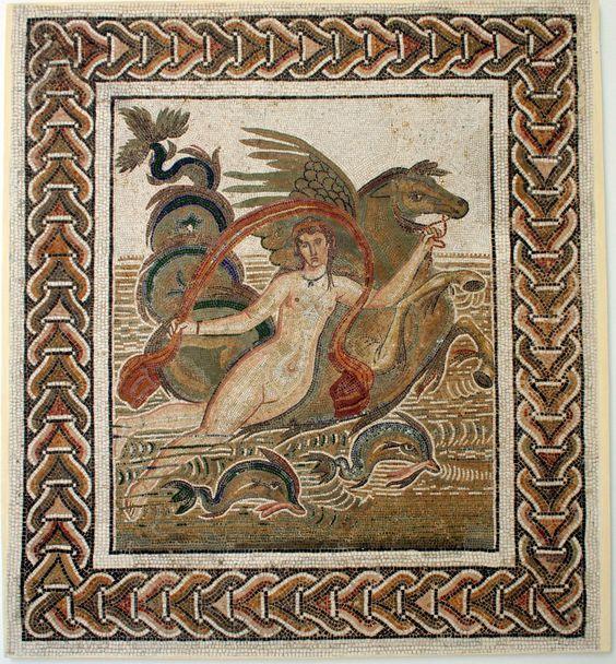 Една древна римска мозайка в Джем Музей Ел в Тунис .: